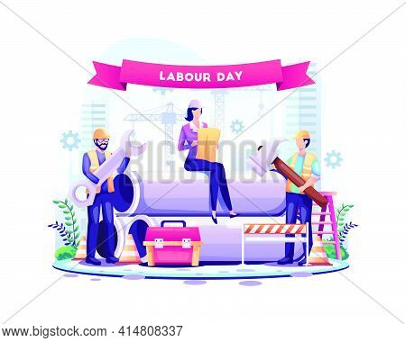 Happy Labour Day. Construction Workers Are Working On Labour Day On 1 May. Vector Illustration