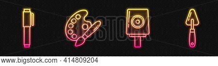 Set Line Spray Can Nozzle Cap, Pen, Paint Brush With Palette And Palette Knife. Glowing Neon Icon. V