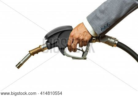 Holding Black Fuel Pump Isolated On White Background.