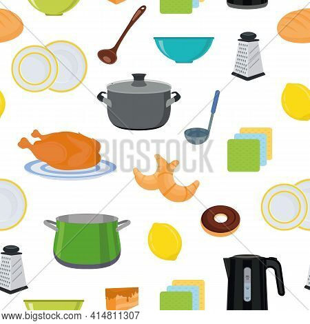 Dishes, Food, And Cutlery. Kitchen Utensils. Seamless Background. Kitchen Textile, Vector Background