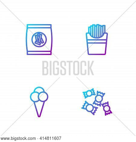 Set Line Candy, Ice Cream In Waffle Cone, Hard Bread Chucks Crackers And Potatoes French Fries Box.