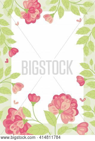 Summer Flowers In Flat Style - Frame, Poster, Banner, Template. Hello Spring And Summer. Spring Mood