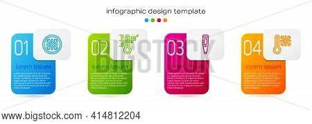 Set Line Snowflake, Meteorology Thermometer, Digital And Thermometer With Snowflake. Business Infogr
