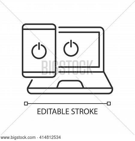 Going Offline Linear Icon. No Online Activity. Stop Gadget Addiction. Digital Detoxification. Thin L