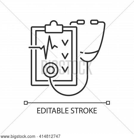 Regular Health Checkups Linear Icon. Hospital Check. Clinical Examination. Health Care. Thin Line Cu