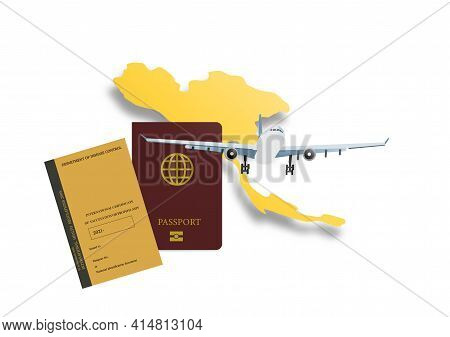 Concepts Of Reopening Airplane Travel In Thailand After Vaccination Against Covid-19. Illustration O