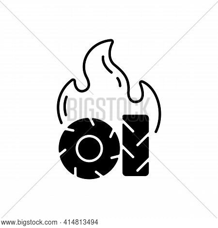 Burning Tires Black Linear Icon. Tire Fire Emissions Include Dangerous Pollutants Such As Carbon Mon