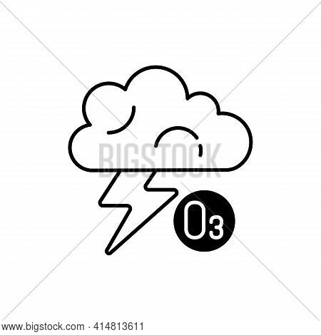 Lightning Black Linear Icon. Lightning Significantly Increases Regional Ozone And Other Gases That A