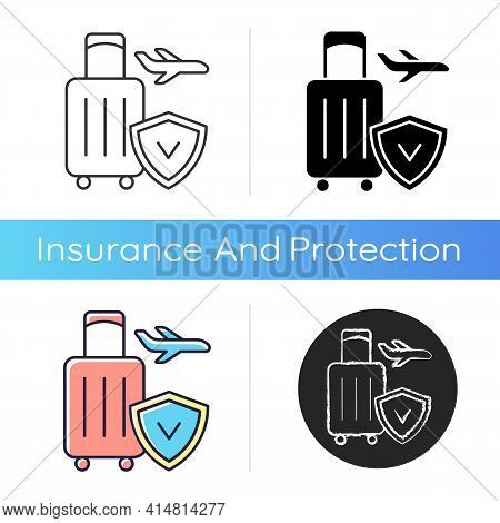 Travel Insurance Icon. Covering Traveling Costs And Losses. Reimbursement For Last-minute Flight Del