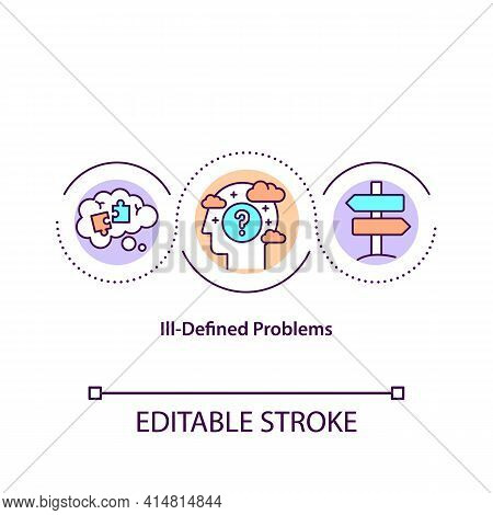 Ill-defined Problems Concept Icon. Unclear Statement, Difficulty In Work. Problem Solving Issues Ide
