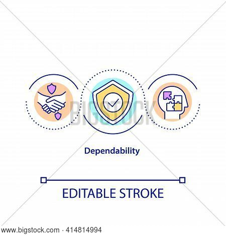 Dependability Concept Icon. Trustworthy Deal. Responsible Leadership. Quality Service. Problem Solvi