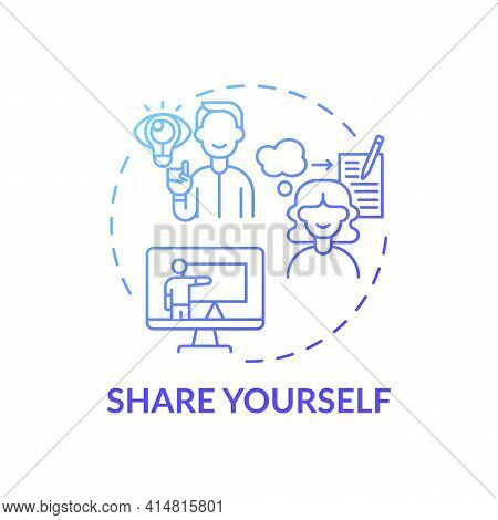 Share Yourself Blue Gradient Concept Icon. Personal Accomplishment. Self Development And Individual