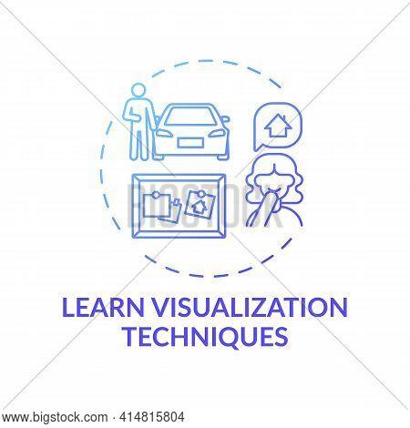 Learn Visualization Technique Blue Gradient Concept Icon. Strategy For Motivation, Inspiration. Achi