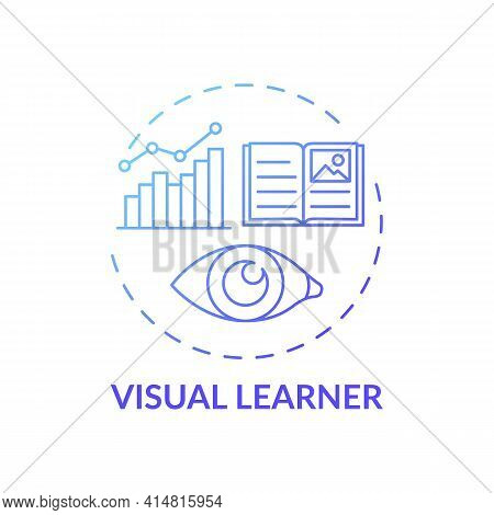 Visual Learner Blue Gradient Concept Icon. Learning Method With Pictures. Self Development, Studying