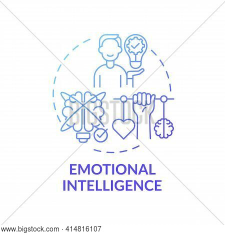 Emotional Intelligence Blue Gradient Concept Icon. Psychological Skills. Empathy In Relationships. S