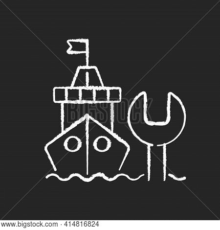 Ship Maintenance And Repair Chalk White Icon On Black Background. Repairing Floating Vessels. Naval