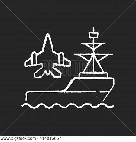 Aircraft Carrier Chalk White Icon On Black Background. Seagoing Airbase. Place For Aircraft Launchin