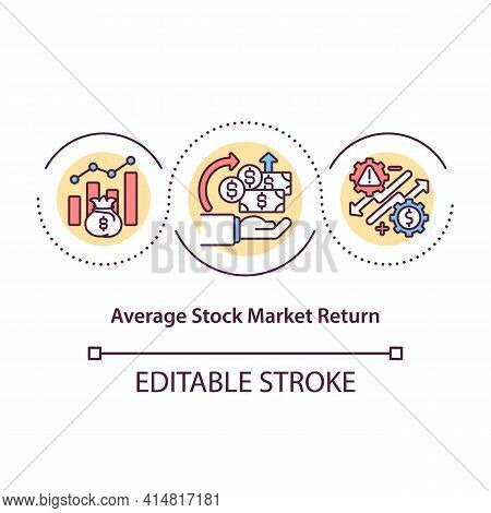 Average Stock Market Return Concept Icon. Money Earned During Time For Owning Stocks. Long Term Mone
