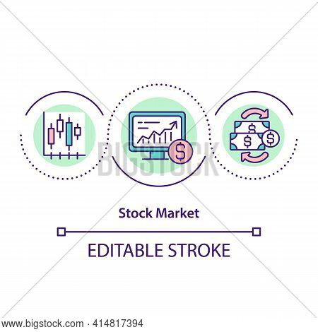 Stock Market Concept Icon. Aggregation Of Buyers And Sellers Of Company Stock Shares. Trading Applic