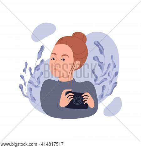 Young Woman With A Camera In Her Hands. Girl Photographer On A Background Of Plants. Isolated Vector
