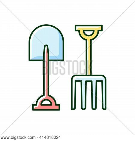 Garden Fork And Spade Rgb Color Icon. Loosening, Blending Soil. Light Cultivation. Moving Bulk Mater