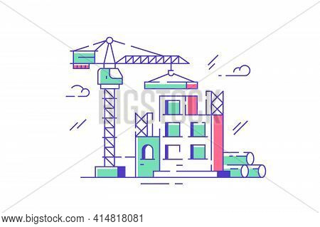 Construction Site And Crane Vector Illustration. Creating New Building Complex Flat Style. Renovatio