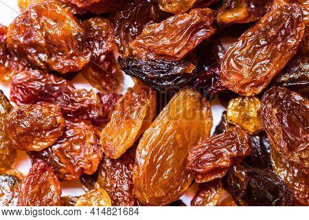 Texture Of Raisins, Macro Selective Focus. Background Of Raisins