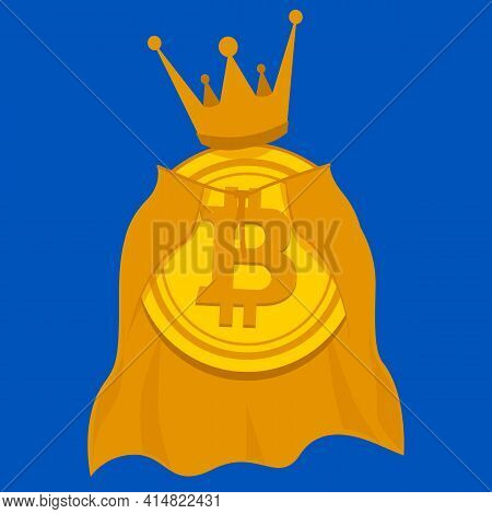 Gold Coin Of Virtual Crypto Currency Bitcoin In A Golden Crown And Royal Mantle. King Of Crypto Curr