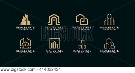 Inspirational Elegant Modern Real Estate Building Logo And Business Card Design Vector Template. Log