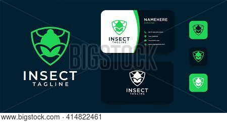 Beetle Bug Logo Design With Business Card Template. Logo Can Be Used For Animal Business, Security,