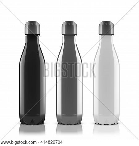 Black Silver And White Metal Reusable Water Bottle