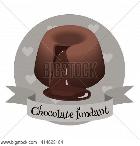French Lava Cake Chocolate Fondant. Traditional Dessert. Colorful Cartoon Style Illustration For Caf