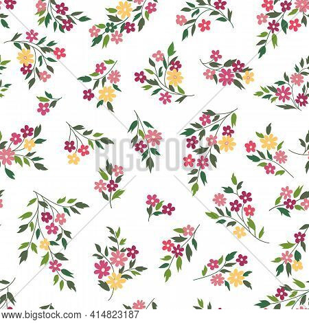 Floral Seamless Pattern. Flower Background. Floral Seamless Texture With Flowers. Flourish Tiled Dec
