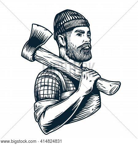 Bearded Lumberjack With Axe. Axeman Handyman Logo