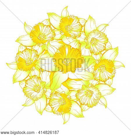 Happy Easter Wreath With Yellow Flowers Narcissus, Daffodils Drawn By Hand. Bright Colored Gradient