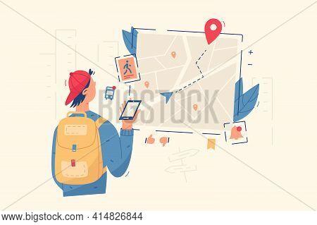 Guy Look In Navigation Map Vector Illustration
