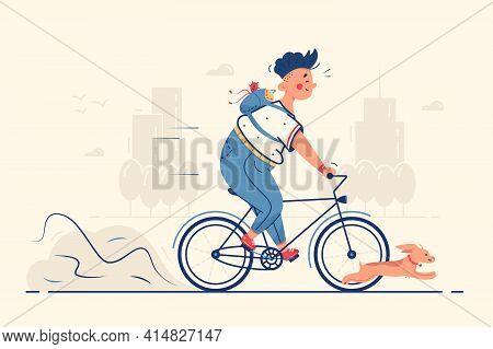 Guy Riding Bike With Dog Vector Illustration