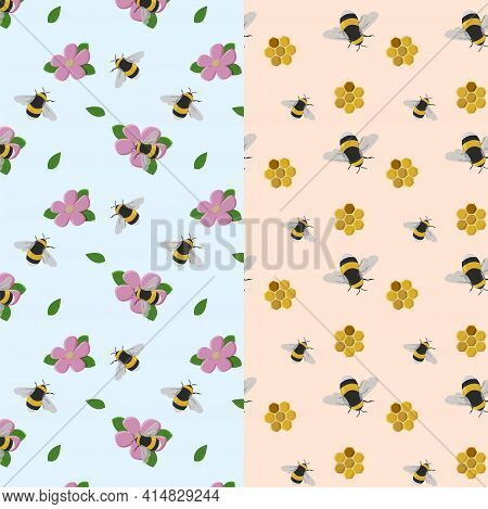 Set Of Seamless Patterns. Bumblebees On A Flower And Honey Combs On A Blue And Peach Color Backgroun