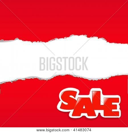 Red Torn Paper Borders Sale Background With Gradient Mesh, Vector Illustration