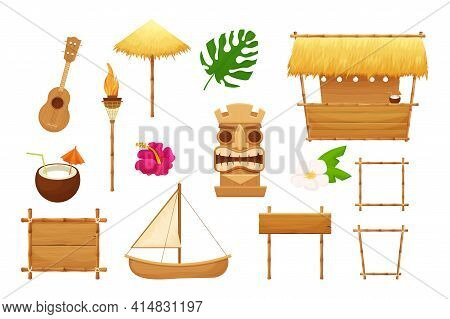 Hawaiian Set Holiday Traditional Elements In Cartoon Style Isolated In White Background. Beach Bar W