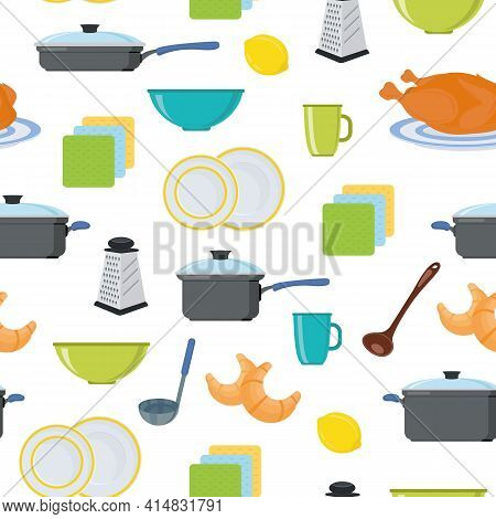 Seamless Background. Kitchen. Food And Drinks. Kitchen Utensils. Pots And Pans. The Pattern. Vector