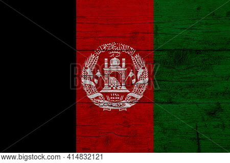 Flag Of Afghanistan. Wooden Texture Of The Flag Of Afghanistan.