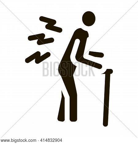 Senile Arthritis Of Back Glyph Icon Vector. Senile Arthritis Of Back Sign. Isolated Symbol Illustrat
