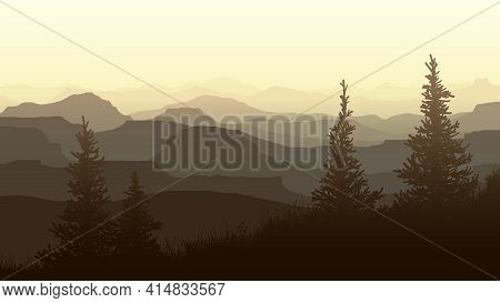 Horizontal Illustration Misty Evening With Spruce Trees In Meadow And Mountain Valley.