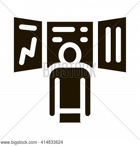 Promotion Board And Observing Person Glyph Icon Vector. Promotion Board And Observing Person Sign. I