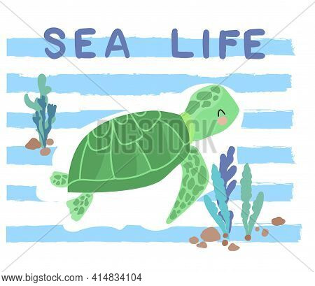Sea Turtle Illustration Sea Summer Kids Tropical Print Design With Slogan Sea Life Vector