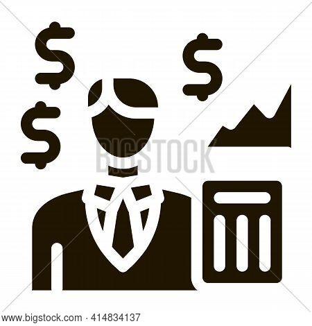 Realtor Transfers Profit Glyph Icon Vector. Realtor Transfers Profit Sign. Isolated Symbol Illustrat