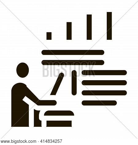 Realtor With Chart Tells Glyph Icon Vector. Realtor With Chart Tells Sign. Isolated Symbol Illustrat