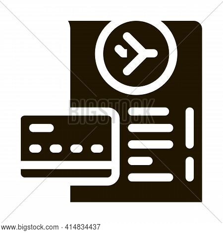 Card For Payment And Check In Duty Free Glyph Icon Vector. Card For Payment And Check In Duty Free S