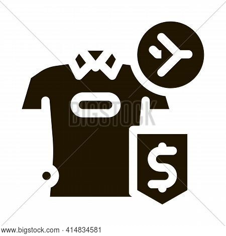 Purchase Cash T-shirt Duty Free Glyph Icon Vector. Purchase Cash T-shirt Duty Free Sign. Isolated Sy